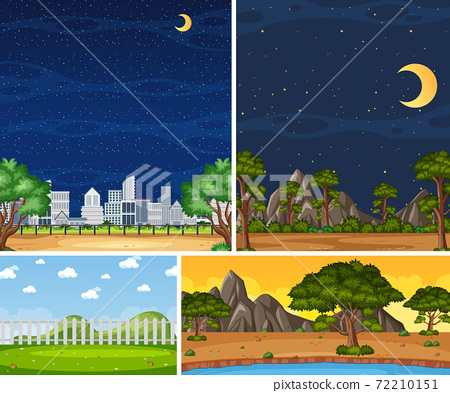 Four background different nature scenes with green 72210151