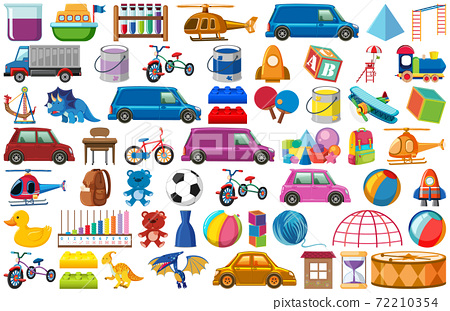 Set of various objects cartoon 72210354