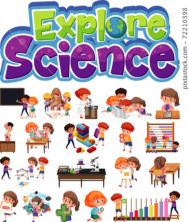 Explore science logo and set of children with 72210398