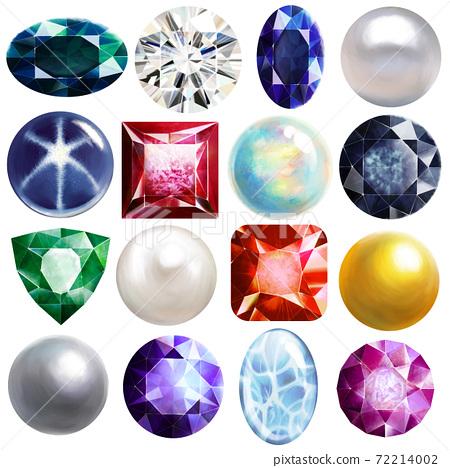 一組華麗的珍珠,珠寶和金屬材料 72214002