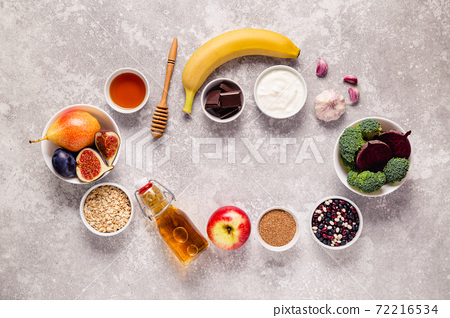 Products for healthy bowel. Natural food for gut. 72216534