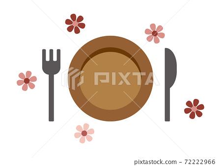 盤子和餐具的插圖 72222966