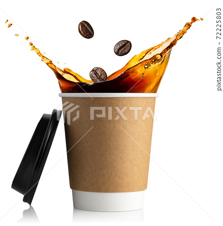 disposable cup with coffee splash 72225803