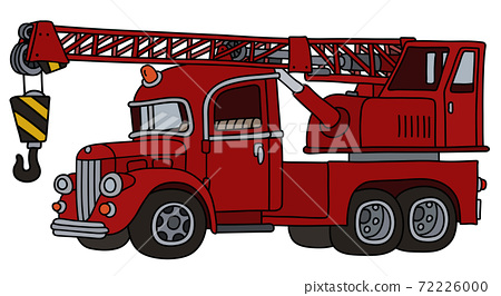 The funny classic red truck crane 72226000