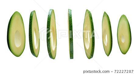Avocado slices isolated on white background, levitating 72227287