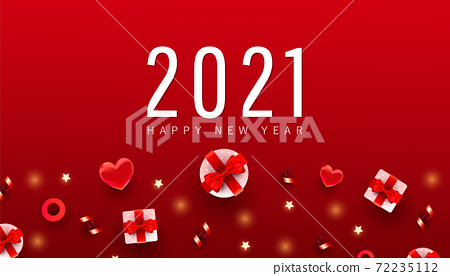 2021 Happy New Year and Merry Christmas minimal banner. Xmas gifts box, circles objects on gradient red background with place for text. Flat lay, top view. 72235112