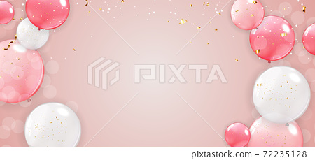 Holiday, Party banner with Balloons Background Design. Template for advertising, web, social media and fashion ads. Horizontal poster, flyer, greeting card, header for website Vector Illustration. 72235128