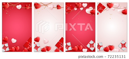 Valentine's Day Love and Feelings banner Background Design. Template for advertising, web, social media and fashion ads. Horizontal poster, flyer, greeting card, header for website. Vector 72235131