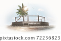 3D MMA arena on the fight island. Octagon on the sand. Palm tree, sun, sand. Birds in the sky. MMA Isolated. 3D rendering 72236823