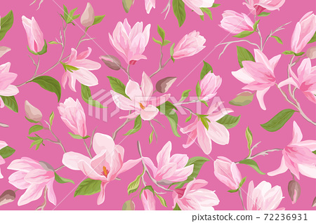 Watercolor magnolia floral seamless vector pattern. Magnolia flowers, leaves, petals, blossom background 72236931