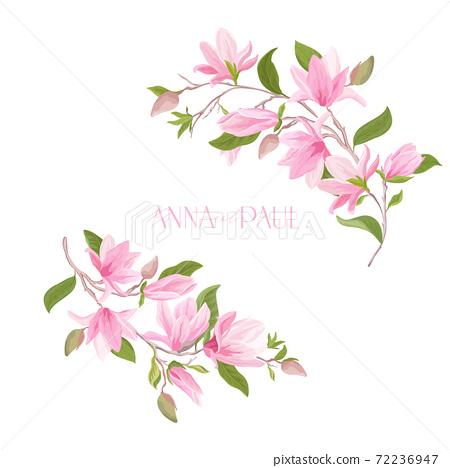 Floral Wedding frame, boho magnolia flower watercolor template. Invitation greeting vector card 72236947