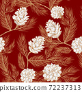 Fir cones pattern background, pinecone seamless 72237313