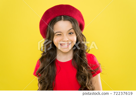 Emotional expression. Girl artistic kid practicing acting skill 72237619