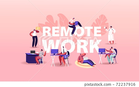 Remote Work Concept. Relaxed Men or Women Freelancer Characters Working Distant on Laptop and Pc from Home 72237916