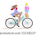 一個女孩在聖誕節運行與一輛自行車上的禮物的圍巾和外套的插圖 72238237
