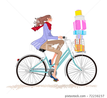 Illustration of a girl in a muffler and coat running with a present on a bicycle at Christmas 72238237
