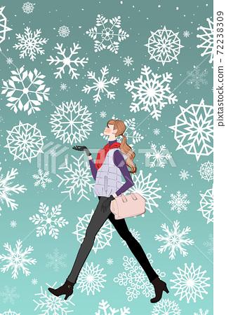 女人穿著圍巾和羽絨服在冬天在雪中行走的插圖 72238309