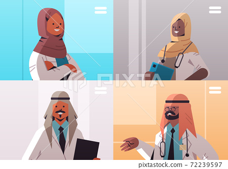arabic doctors group in web browser windows discussing during video conference medicine healthcare 72239597
