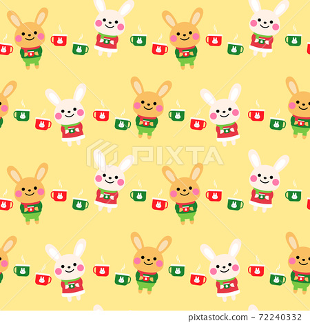cute rabbits cartoon seamless pattern design 72240332