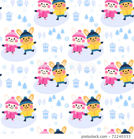 cute rabbit couple cartoon seamless pattern design 72240333