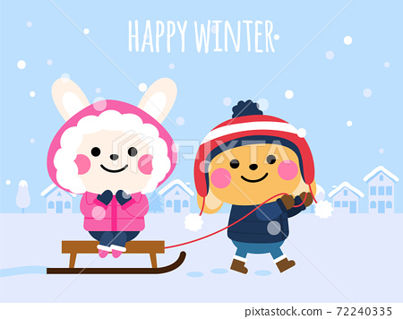 cute rabbits in winter happy winter card 72240335