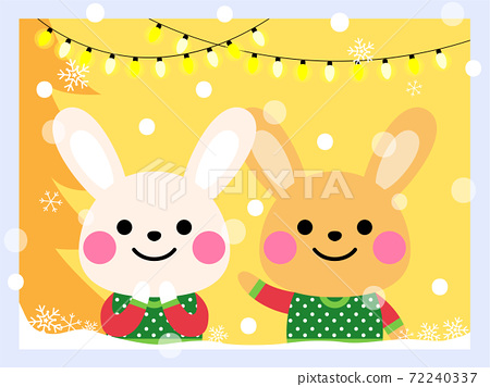 cute rabbits wear an ugly sweater illustration 72240337