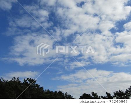 検見川 바닷가 겨울 푸른 하늘과 흰 구름 72240945