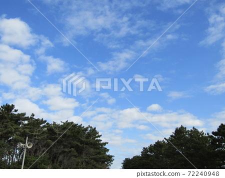 検見川 바닷가 겨울 푸른 하늘과 흰 구름 72240948