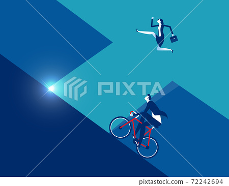 Business person running with ride bicycle to competition 72242694