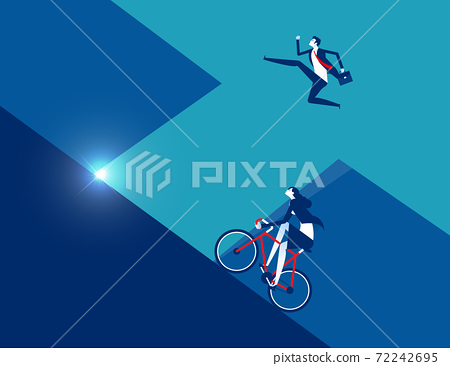 Business person running with ride bicycle to competition 72242695