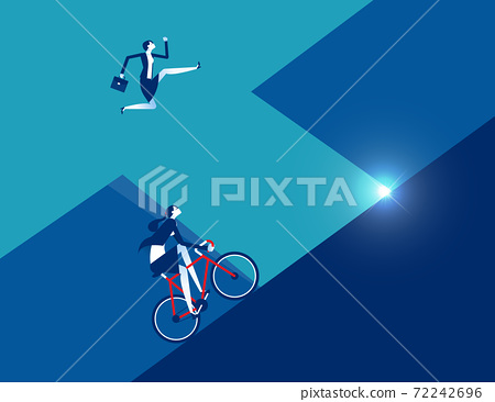 Business person running with ride bicycle to competition 72242696