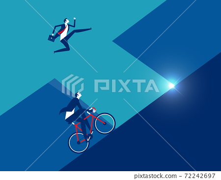 Business person running with ride bicycle to competition 72242697