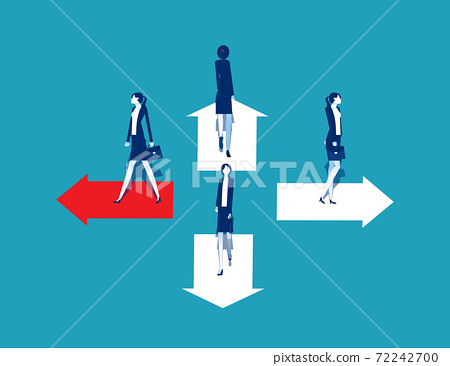 Business goals.Trend and movement to success, People standing on arrow different direction 72242700