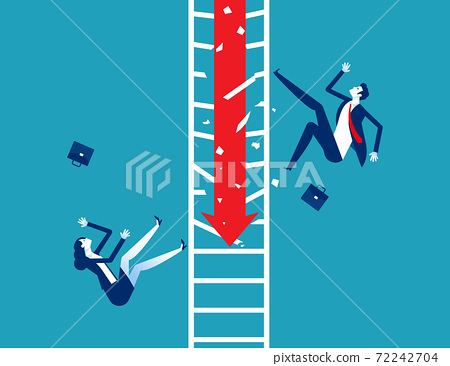Business team accidentally fell from the broken ladder. Arrow down 72242704