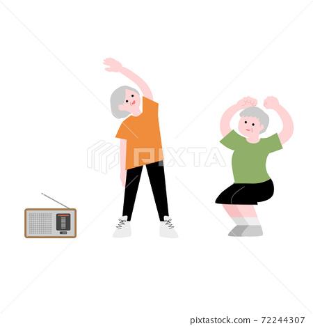 老年人做廣播練習插圖素材 72244307