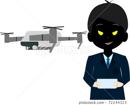 Illustration of a bad person manipulating a drone 72244323