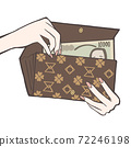 Putting in and out 10,000 yen bills from a long wallet 72246198