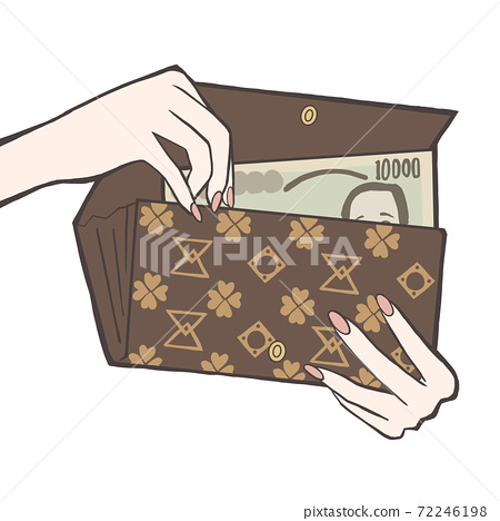 지갑에서 만엔짜리 지폐를 출입 72246198