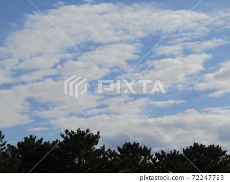 이나 게 해변 공원의 겨울의 푸른 하늘과 흰 구름 72247723