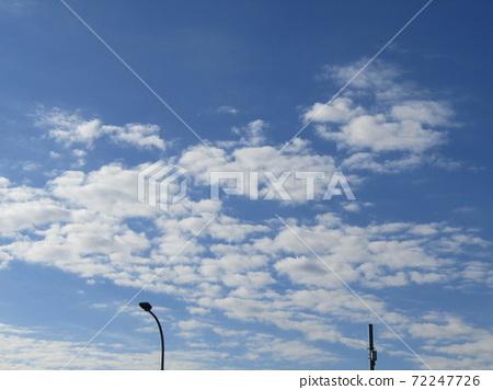 이나 게 해변 공원의 겨울의 푸른 하늘과 흰 구름 72247726