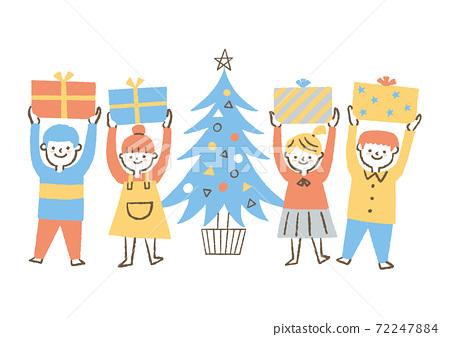 收到聖誕節禮物的孩子 72247884