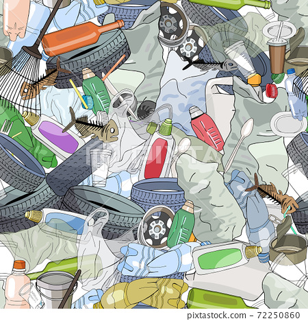 Seamless pattern with different kinds of plastic garbage. The concept of ecology and World Cleanup Day. 72250860