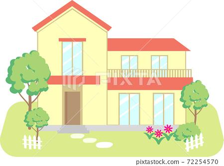 帶紅色屋頂花園的獨立式住宅 72254570