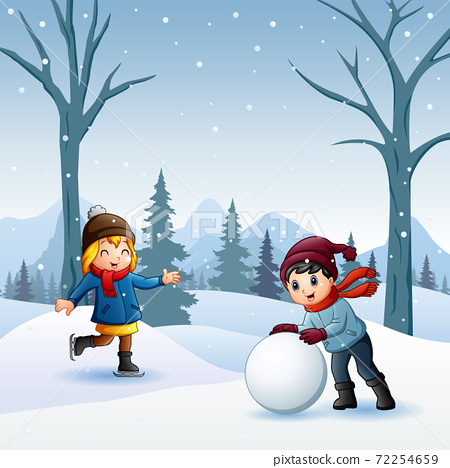Boy and girl playing snowball fight outdoors 72254659