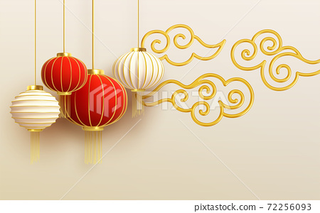 Chinese new year design template with and red lanterns and cloud on the Light background. Vector illustration 72256093