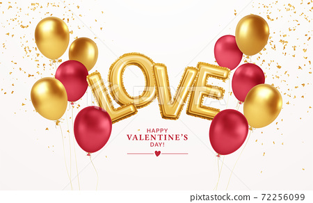 Happy Valentines Day gold and red balloons with the inscription love from gold foil helium balloons. For festive design of flyer, poster, card, banner. Vector illustration 72256099