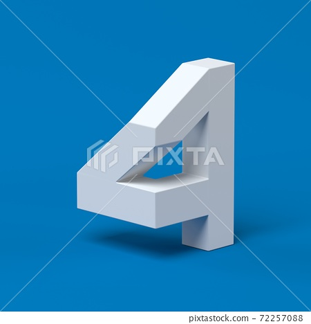 Isometric font 3d rendering number 4 72257088
