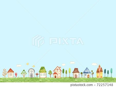 藍藍的天空中排列的房屋風光 72257148
