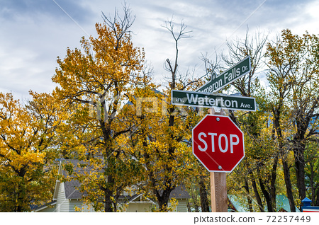 Waterton Village. Town street signpost in autumn season morning. Waterton Lakes National Park, Alberta, Canada. 72257449