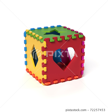 Foam pads forming cubical puzzle 3d rendering 72257453